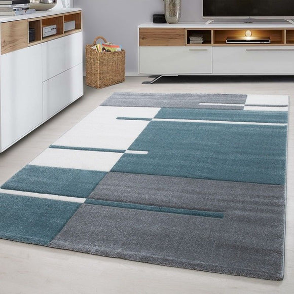 Geometric Rug Modern Grey Green White Check Pattern Mat Living Room Hall Carpets