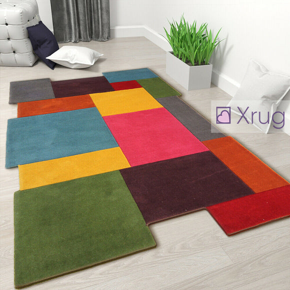 Mulitcoloured Wool Rug Thick Geometric New Carpet Bright Living Room Bedroom Mat