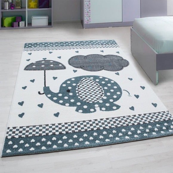 Elephant Nursery Rug White Grey Blue Childrens Animal Carpets Kids Room Baby Mat