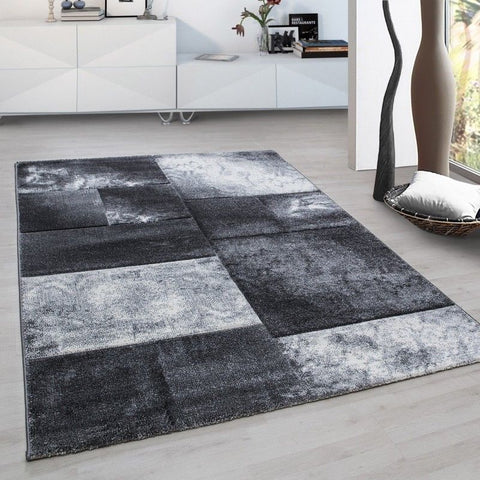Check Rug Modern Silver Grey Geometric Pattern Mat for Living Room Lounge Carpet