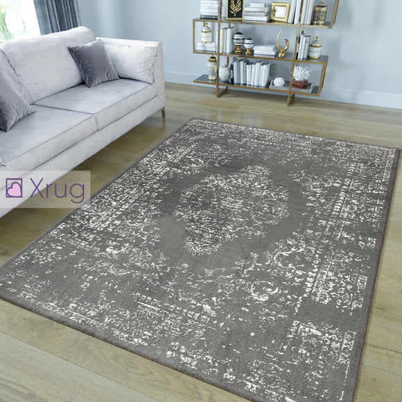 Grey Rug Anthracite Oriental Carpet New Microfiber Floor Mat Living Room Bedroom