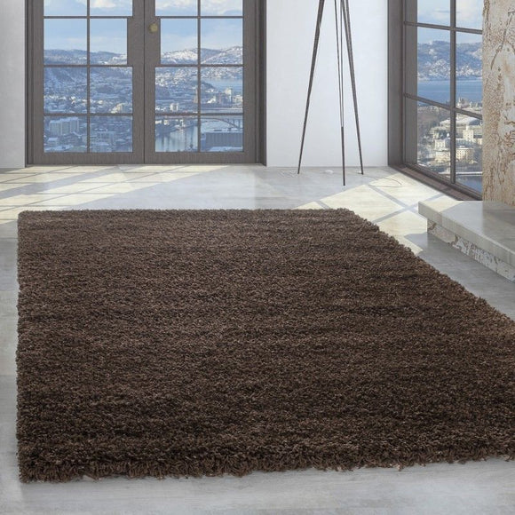 Shaggy Rug Plain Brown High Pile Woven Carpet Round Fluffy Room Mats Small Large