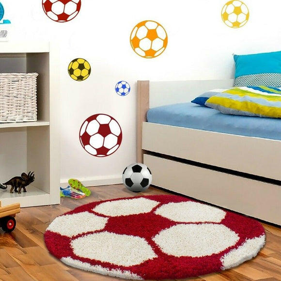 Boys Football Rug Red White Round Fluffy Kids Floor Mats Childrens Room Carpet