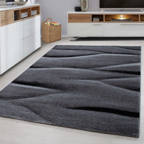 Modern Rug Black and Grey Pattern Carpet Abstract Small Large Bedroom Lounge Mat