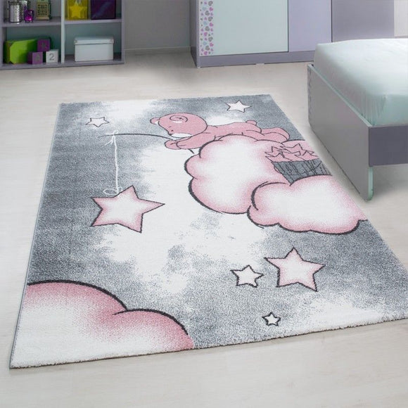 Childrens Rugs Kids Star Grey Pink Nursery Carpets Baby Room Playroom Round Mat