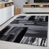 Grey Abstract Rug New Modern Geometric Mat Small Large Bedroom Floor Hall Carpet