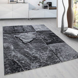 Geometric Rug Black Grey 3D Effect Pattern Carpet Bedroom Runner Mat Small Large