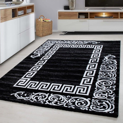 Modern Black Rug Oriental Pattern Carpet Room Lounge Hallway Mats Small Large XL