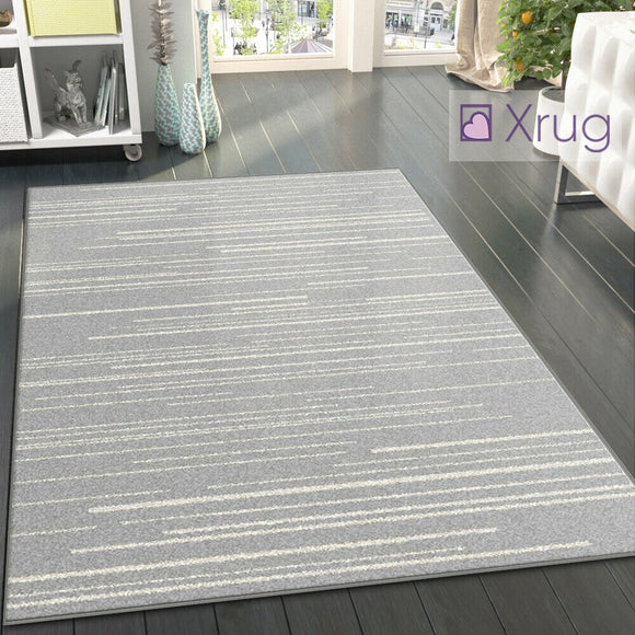 Silver Grey Rug Cream Striped Pattern Mat Large Modern Bedroom Floor Carpet New