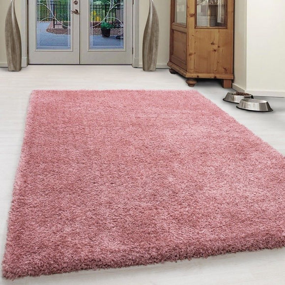 Fluffy Rug Plain Dusty Pink Deep Pile Shaggy Mat Modern Living Room Carpet Round