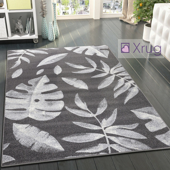 Dark Grey Rug Modern Floral Pattern Anthracite Carpet New Large Bedroom Area Mat