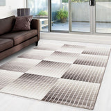Brown and Beige Rug Modern Geometric Check Pattern Carpet Living Room Runner Mat