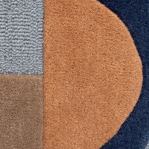 Navy Blue Beige Cream Terracotta Grey Multi Coloured Rug Geometric Plain Circle Pattern Carpet Modern Wool Rug Bedroom Area Mat Small Extra Large Hall Mat Living Room Lounge Woven Short Pile Contemporary Floor New 120x170 160x230 200x290