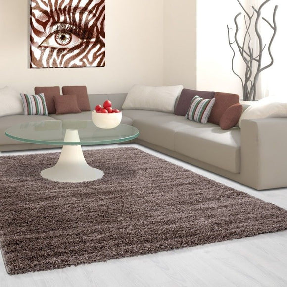 Fluffy Shaggy Rug New Modern Brown Plain Mat Woven Bedroom Carpet Small Large XL