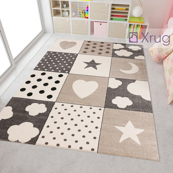 Kids Star Heart Cloud Rug Beige Grey Childrens Bedroom Mat Baby Nursery Playroom Carpet New