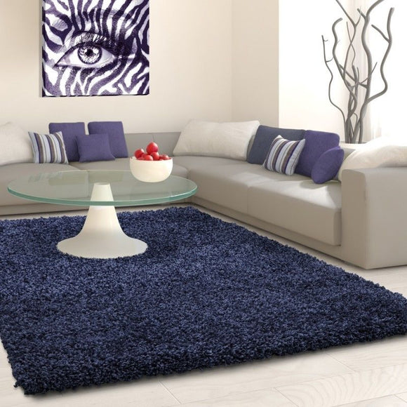 Fluffy Shaggy Rug Plain Navy Blue Bedroom Carpet New Modern Deep Pile Woven Mats