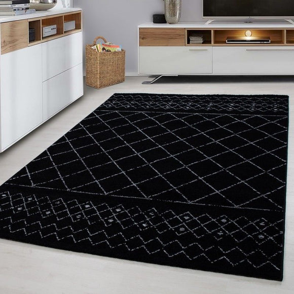 Modern Black Rug Small Large Geometric Pattern Carpet Dining Room Lounge Mat New