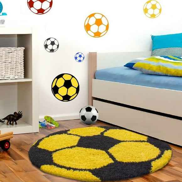 Boys Rugs Yellow Black Kids Football Mats Childrens Bedroom Round Fluffy Carpet