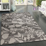 Brown Patterned Rug Modern Designer Floral Short Pile Carpet Bedroom Lounge Mats