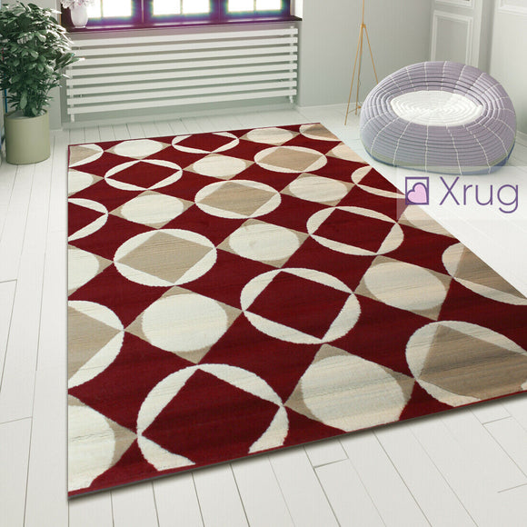 Modern Pattern Rug Red and Cream Geometric Carpet Small Large Bedroom Lounge Mat