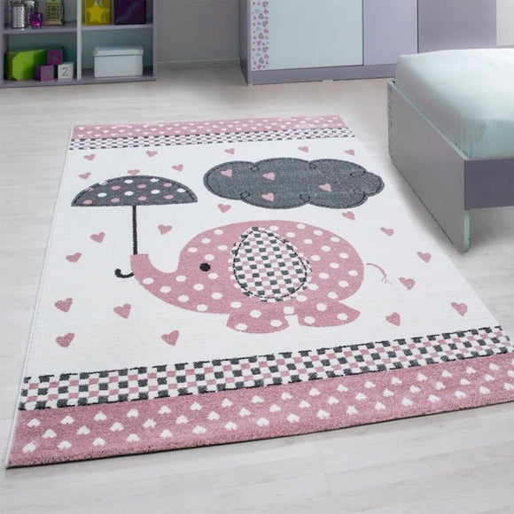 Childrens Animal Rug Elephant Nursery White Grey Pink Mat Baby Room Kids Carpets