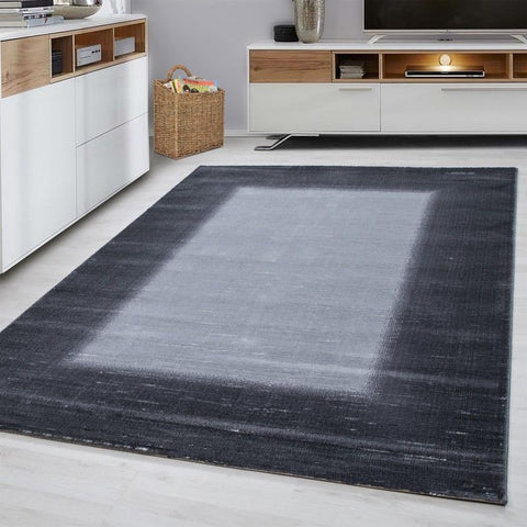 Modern Grey Rug Small X Large Border Design Carpet Living Room Hallway Mats New