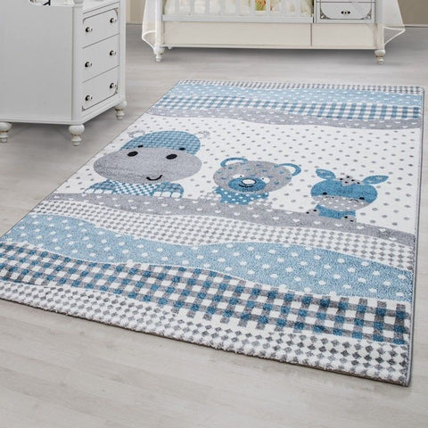Kids Animal Rug Grey Blue White Baby Nursery Carpet Childrens Bedroom Floor Mats