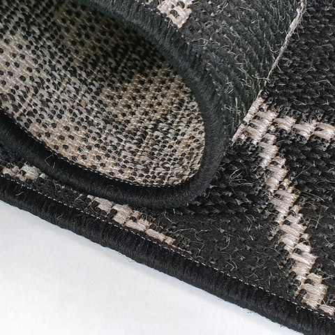 Black Rug Carpet Flat Pile Hall Living Room Bedroom Rug Mat Woven Small Large
