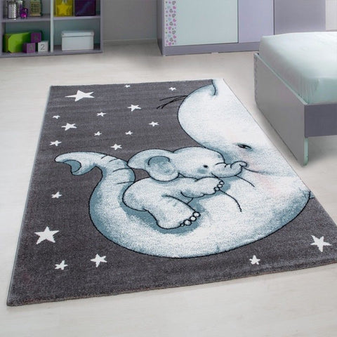 Kids Animal Rug Grey Blue Elephant Nursery Mat Childrens Star Bedroom Carpet New