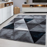 Check Rugs Modern Grey Blue Ceometric Pattern Mat Small Extra Large Room Carpets