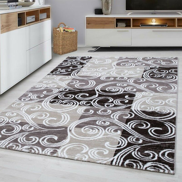 Check Rugs Brown Beige Cream Oriental Pattern Mat Modern Living Room Hall Carpet