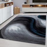 Modern Rug Black Grey Bue Abstract Pattern Carpet Small X Large Bedroom Hall Mat