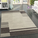 Modern Geometric Rug Brown and Cream Ivory Pattern Mat Large Living Room Carpet