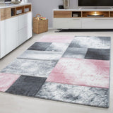 Check Rugs Silver Grey Pink Contour Cut Carpet Modern Geometric Living Room Mats