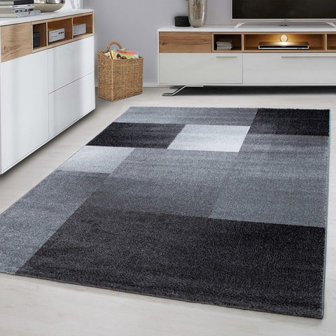 Check Rug Black and Grey Geometric Pattern Carpets Room Floor Mat Small Large XL