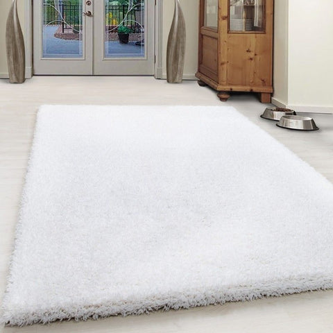 Cream Fluffy Rug Deep Pile Shaggy New Modern Mat Small X Large Round Room Carpet