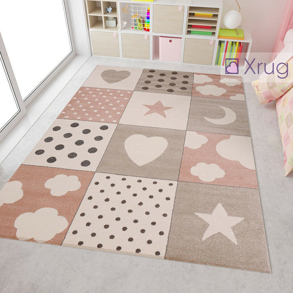 Childrens Star Heart Cloud Rug Grey Pink White Cream Pastel Colour Modern Kids Carpet Baby Nursery Mats Bedroom Playroom Floor Checkered