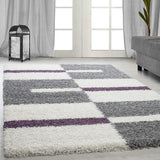 Deep Pile Shaggy Rug Grey White Purple Fluffy Carpet New Modern Living Room Mat