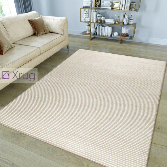 Modern Pattern Rug Striped Beige White Microfiber Soft Pile Mat Bedroom Carpets