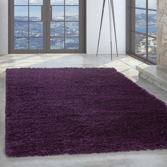 Purple Fluffy Rug Shaggy Plain Bedroom Floor Mat Modern High Pile Round Carpets