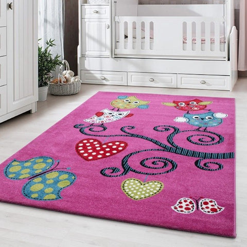Rug for Girls Purple Bedroom Kids Animal Mat Small Large Childrens Play Carpets