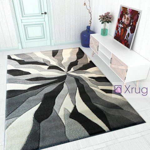 Modern Rugs Grey Black White Contour Cut Pattern Living Room New Mat Small Large