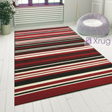 Modern Pattern Rug Striped Red Black Woven Mat Dining Room Hall Runner Carpets