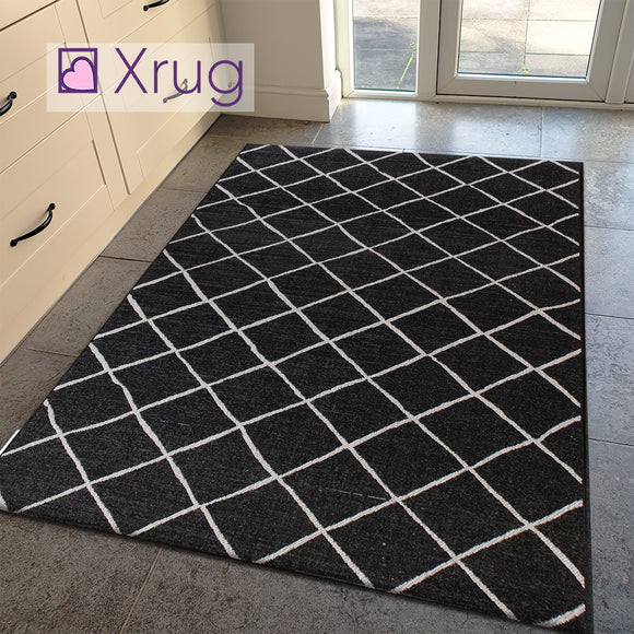 Black Flat Weave Rug Jute Look Diamond Berber Pattern Kitchen Rug Mat Halway Carpet Flat Pile