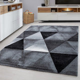 Geometric Rug Black and Grey Diamond Pattern Mat Small Large Living Room Carpets