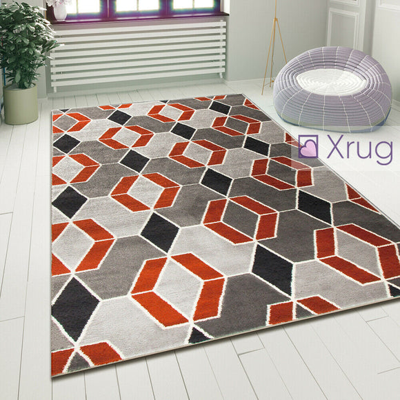 Modern Geometric Rug Terracotta Grey Bedroom Mat Woven Diamond Pattern Carpets