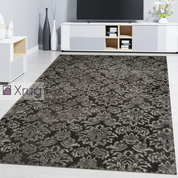 Grey Oriental Rug Damask Floral Patterned Silver Carpet Bedroom Living Room Mat