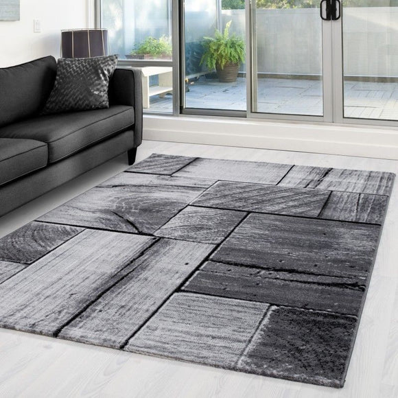 Timber Rugs Grey Black Geometric Pattern Modern Wood Design Carpet Bedroom Hallway Pattern Mat Extra Large Small