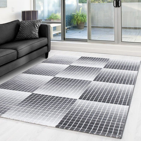 Modern Grey Rug Geometric Pattern Check Mat Small X Large Bedroom Hallway Carpet