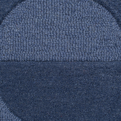 Navy Blue Rug Geometric Plain Circle Pattern Carpet Modern Wool Rug Bedroom Area Mat Small Extra Large Hall Mat Living Room Lounge Woven Short Pile Contemporary Floor New 120x170 160x230 200x290